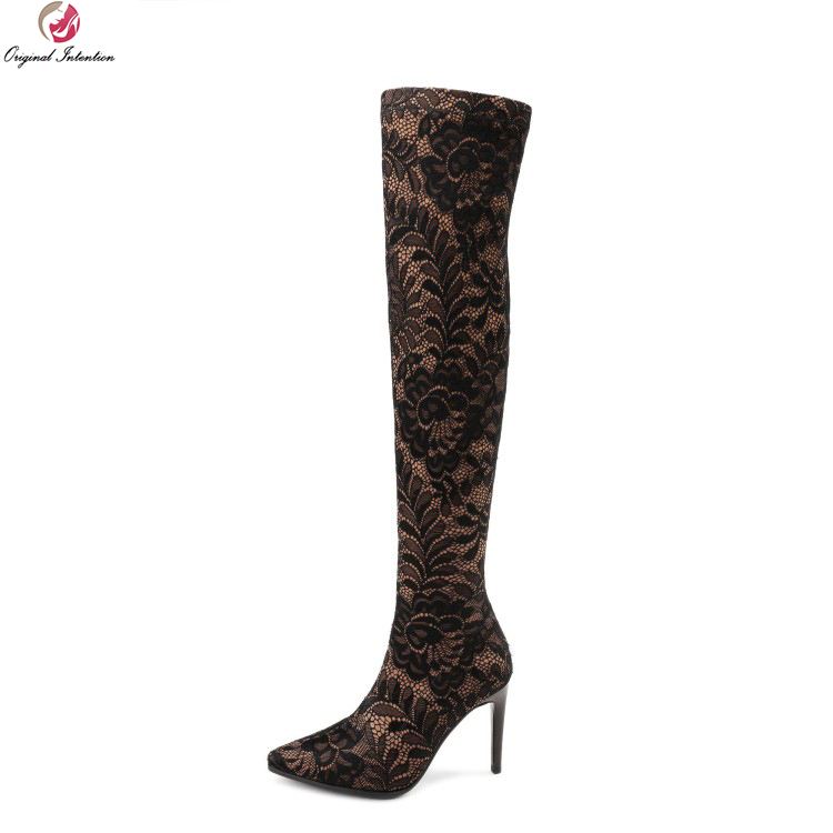 Original Intention Sexy Women Over-the-Knee Boots Pointed Toe Thin High Heels Boots Black Coffee Shoes Woman Plus US Size 4-10.5 original intention high quality women knee high boots nice pointed toe thin heels boots popular black shoes woman us size 4 10 5