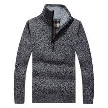 Thick Warm Winter Sweaters Coat Men s Zipper Pullover Cashmere wool Sweaters Man Casual Knitwear Fleece