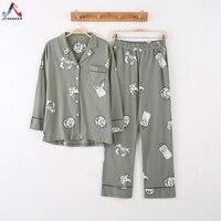 JCVANKER Cotton Women Pajamas Set For Lady V Neck Coat Button White Cat Female Pyjamas Suit