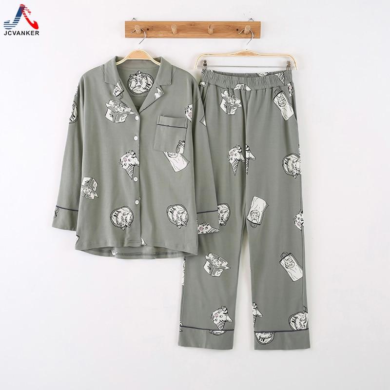 JCVANKER Cotton Women Pajamas Set For Lady V-neck Coat Button White Cat Female Pyjamas Suit Girl Sleepwear Homewear Clothing