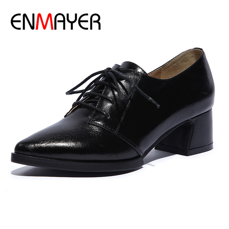 ENMAYER Spring Women's Shoes Lace Up Med High Heel Shoes Pumps Sexy Lady Party Dating Shoes Woman Casual Pointed Toe Pumps Shoes enmayer high heels pointed toe spring