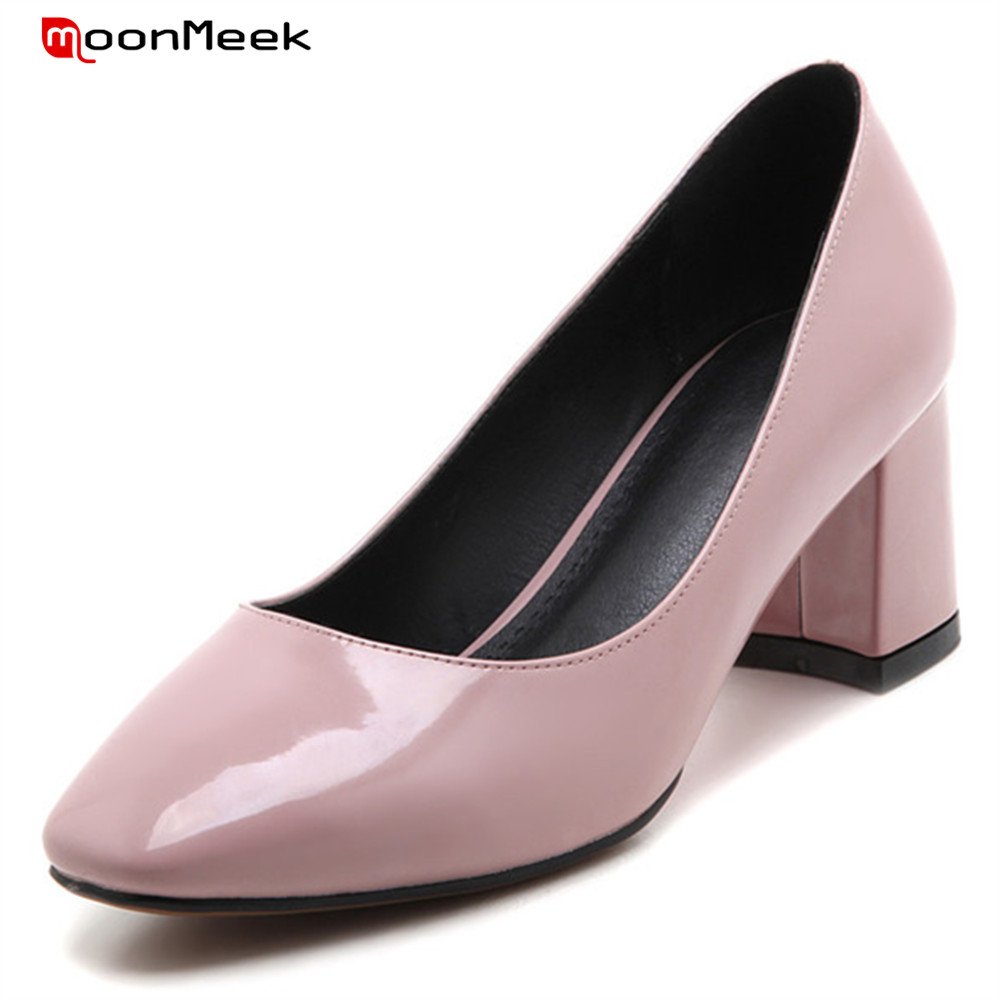 MoonMeek new fashion 2018 sexy ladies shoes square heel slip on high heels shallow square toe simple female pumps wedding shoes sexy women semi transparent lace high heels new 2017 ladies sequin shoes slip on thin heel pumps free shipping
