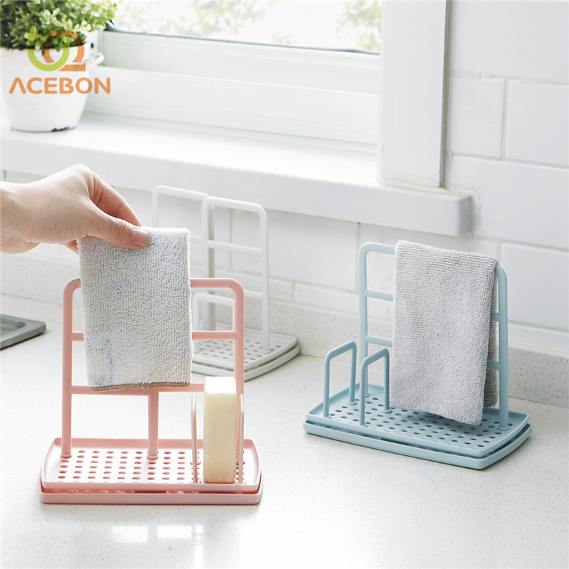 ACEBON 1 PCS Storage Rack Standing Type Sponge Holder Shelf Plate For Pad Towel Mutifuctional Organizer Home Kitchen Accessories