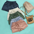 2017 Women Shorts Linen Cotton Elastic Waist Casual Pocket Shorts Plus Size Mini Shorts With Adjustable Waistband #H5