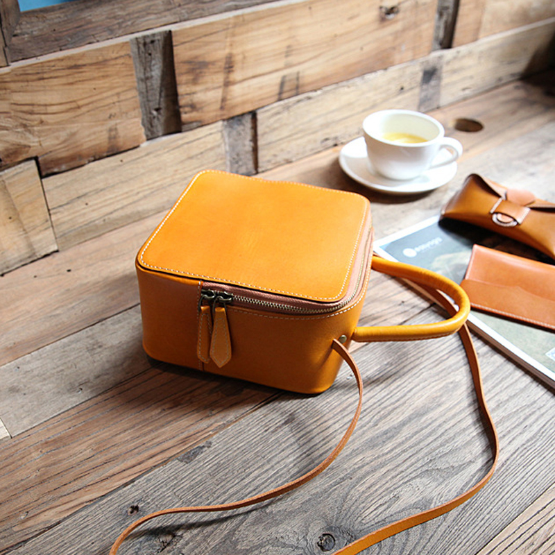 YIFANGZHE Women's Genuine Leather bags, Small Girls Crossbody Bag Purses/Handbags Shoulder Bags with Adjustable Strap