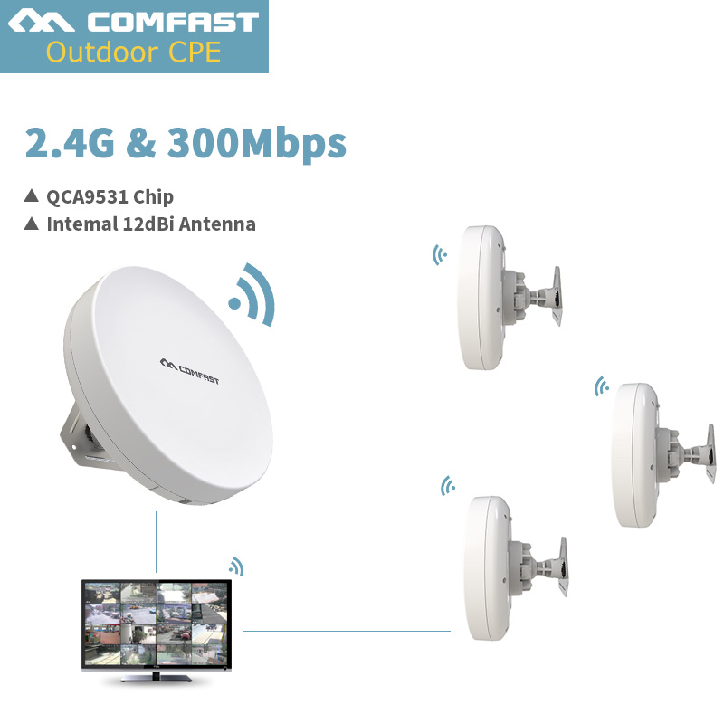 Comfast Outdoor Wireless WIFI Extender Repeater 2.4Ghz 300Mbps Outdoor CPE Router WiFi Bridge Waterproof QCA9531 Access Point AP