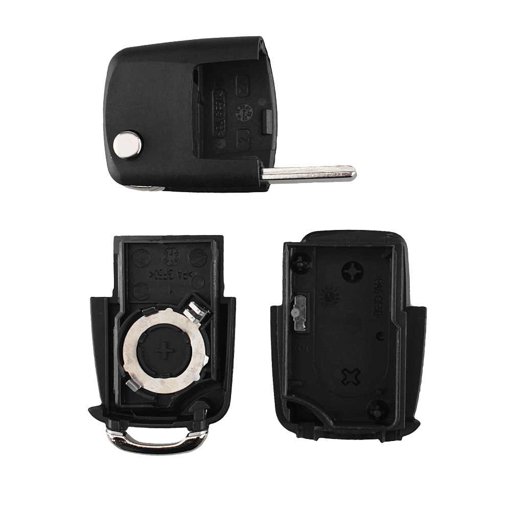 KEYYOU Flip Folding Remote Mobil Kunci Shell Case untuk VW Polo Passat B5 B6 Tiguan Golf 4 5 Kursi skoda HU66 Pisau