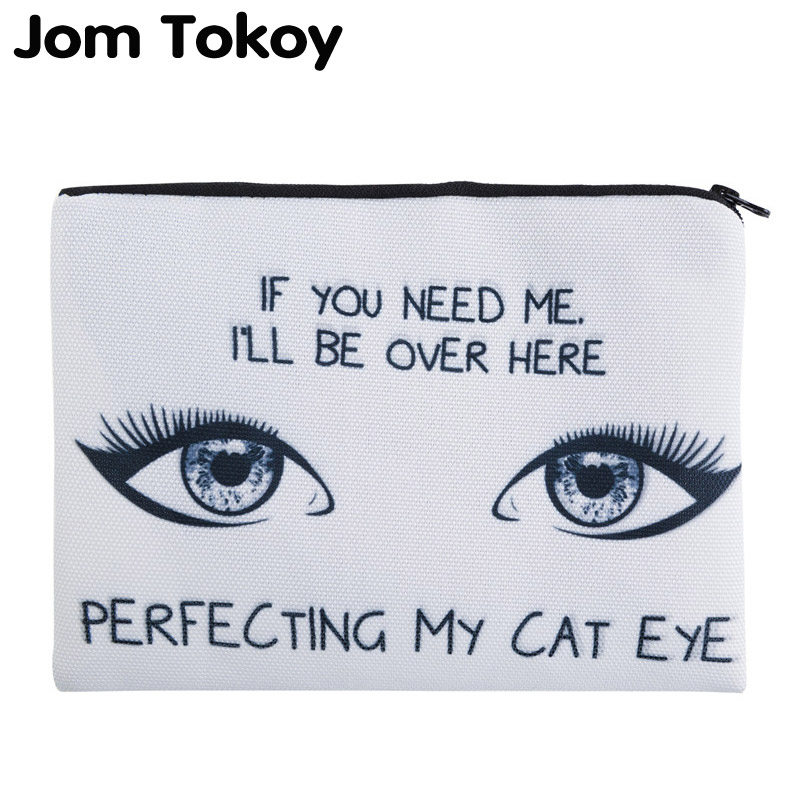 Jom Tokoy 3D Printing Perfecting My Cat Eye Simple Cosmetic Bags Women Travelling Makeup bag unicorn 3d printing fashion makeup bag maleta de maquiagem cosmetic bag necessaire bags organizer party neceser maquillaje