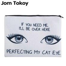 Фотография Jom Tokoy 3D Printing Perfecting My Cat Eye Simple Cosmetic Bags  Women Travelling Makeup bag