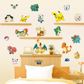 Children Room 3d Pokemon Wall Sticker Removable DIY Cartoon Nursery Wall  Decal Adhesive Animals Wall Picture