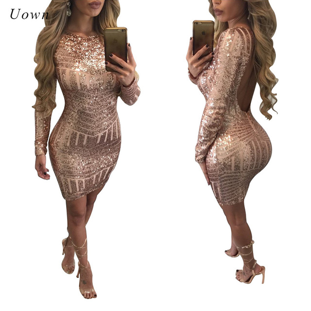 Sexy Backless Gold Sequin Dress Women Autumn Winter Long Sleeve Sparkly  Bodycon Mini Dress Night out Club Short Party Dresses XL b07b5e482254