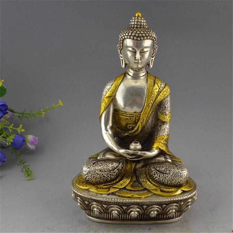 Tibet Silver Copper Gilt Tibetan Buddhism Statue -- Sakyamuni Buddha tibet buddhism copper bronze green tara guan yin boddhisattva buddha god statue