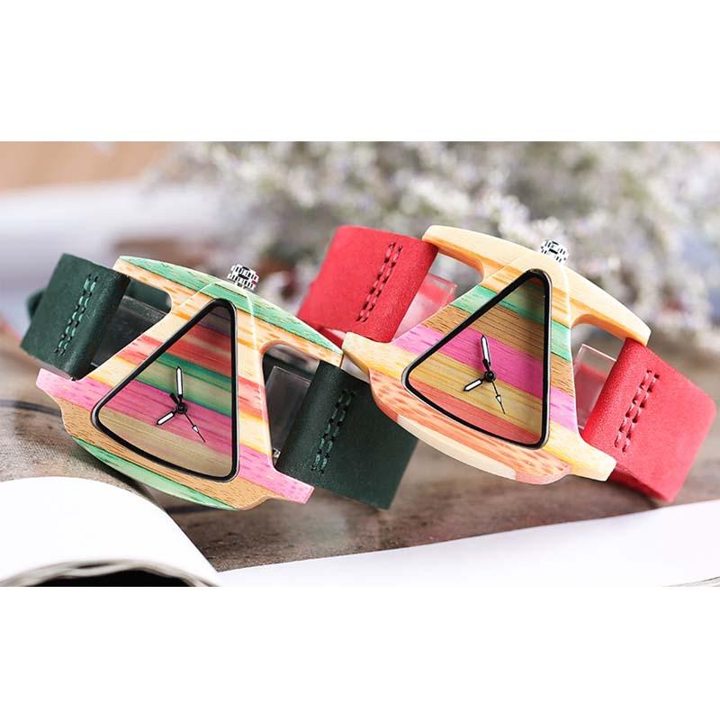 YISUYA unieke driehoek holle houten horloge creatieve kleurrijke - Dameshorloges - Foto 6