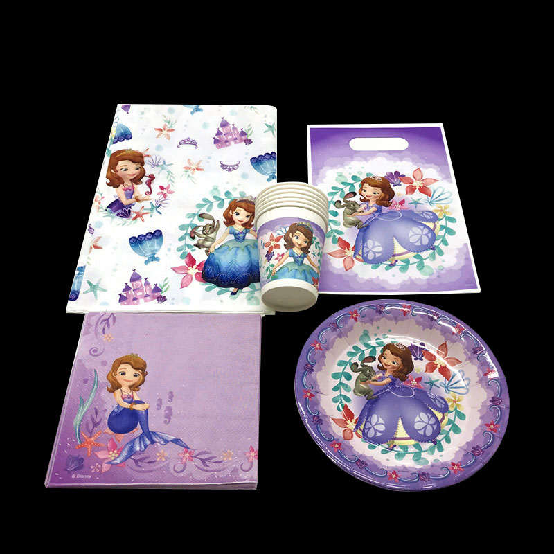Disposable Party Tableware Home & Garden Dashing Disposable Tableware Set Princess Sofia Theme Gift Bag Family Party Baby Shower Birthday Party Decoration Supply 47pcs/set
