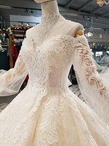 Image 5 - LS354711 Bá Tước Tàu Công Chúa Váy Áo 2018 Sweetheart Tay Dài Bầu Áo Cưới Mua Trực Tiếp Блестящее Платье