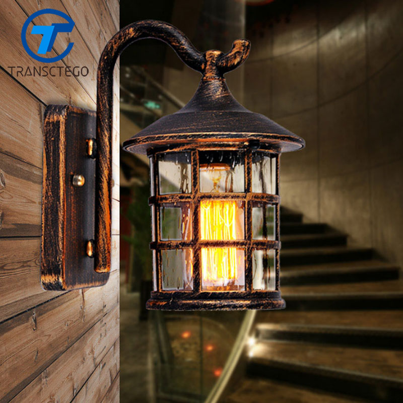 TRANSCTEGO Country Style Outdoor Wall Sconce Lamp Retro luminaria Courtyard Light For Bar Coffee Shop Vintage Corridor Lights