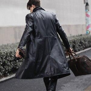 Image 5 - אמיתי עור תעלת מעיל גברים Slim Fit שחור אופנוע מעיל החורף חדש מעיל רוח פרה עור ארוך מעילים בתוספת גודל 5XL