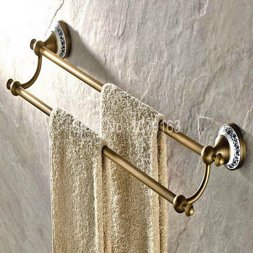 Antique Brass Ceramic Base Bathroom Accessory Wall Mounted Double Towel Bar Towel Rail Rack Holder Bathroom