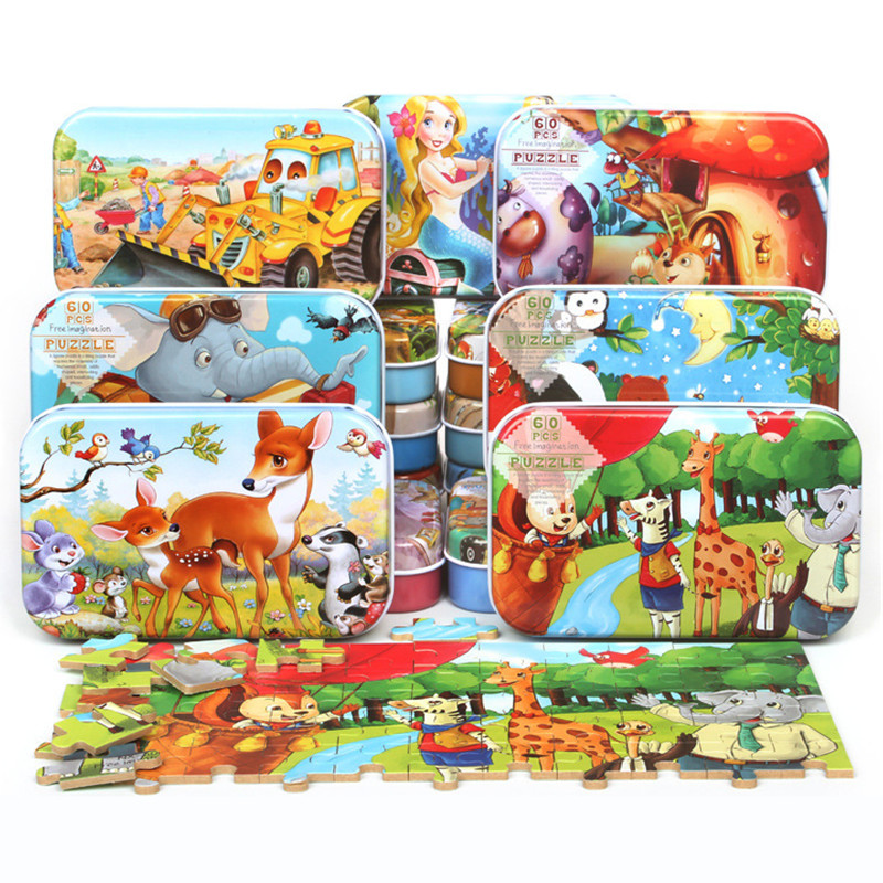 60 Pieces Wooden Puzzle Toys With Iron Box Kids Cartoon Animal Wood Map Puzzles Educational Toys For Children Christmas Gift