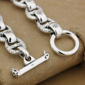 Image 3 - Huge 925 Sterling Silver Handmade Chain Mens Biker Rocker Punk Bracelet 8W006