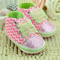 New Toddler Baby Girls Shoes Bling Floral Leopard Sequin Infant Soft Sole First Walker Cotton Fabric Lace-up Shoes Freeshipping
