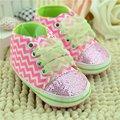 Nueva Nacido Bebé Niñas Zapatos Bling Floral Leopard Lentejuelas Infantiles Suaves del Primer Caminante Zapatos con cordones de Tela de Algodón Freeshipping