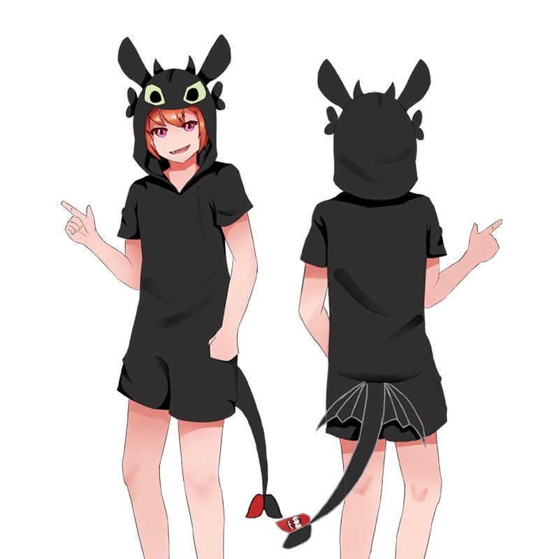 c72235b5ba Anime cómo entrenar a tu dragón desdentado Cosplay cuerno cola Kigurumi  negro de manga corta pijama