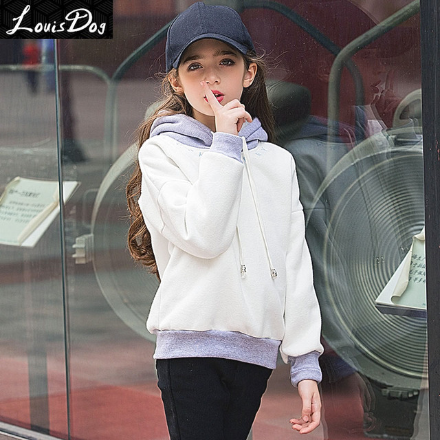 LouisDog Drop Sleeve Loose Fit Fleece Hoodies for Teenage Girls Kids Candy Color Svitshot Children's Autumn Winter Sweatshirts