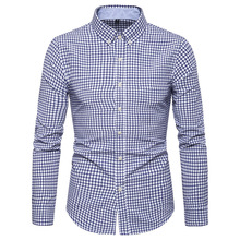 2019 New Autumn Fashion Brand Men Clothes Slim Fit Long Sleeve Shirt Plaid Cotton Casual Social Plus Size 5XL