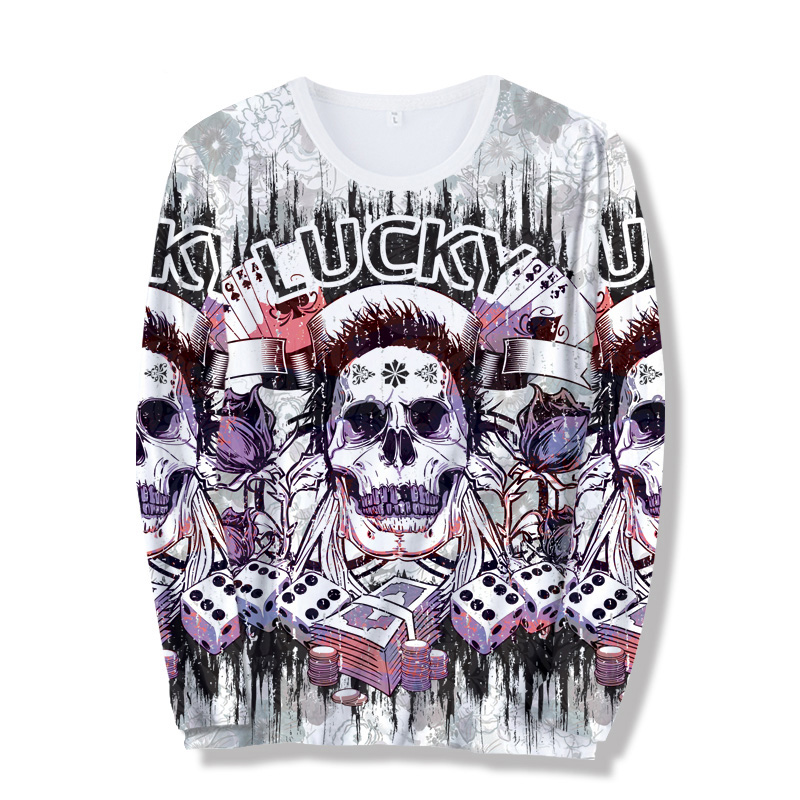 2018 New Mens Summer Skull Poker Print Men Long Sleeve T-shirt 3D T Shirt Casual Breathable T-shirt Plus-size T-shirt