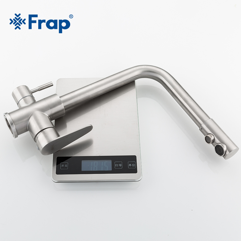 Frap классический кухонный кран с фильтрованной водой 304, очиститель воды из нержавеющей стали, двойная ручка, питьевой кран, холодная и горячая вода F4348 - 5