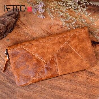 AETOO Оригинальный кошелек ручной работы в стиле ретро, первый слой, кожа, цвет, длинная молния, Прошитый кошелек, женская и мужская сумочка
