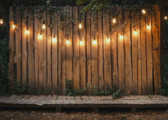 Evening Wooden Stage Garden Lamps Parties Leaves Backdrop