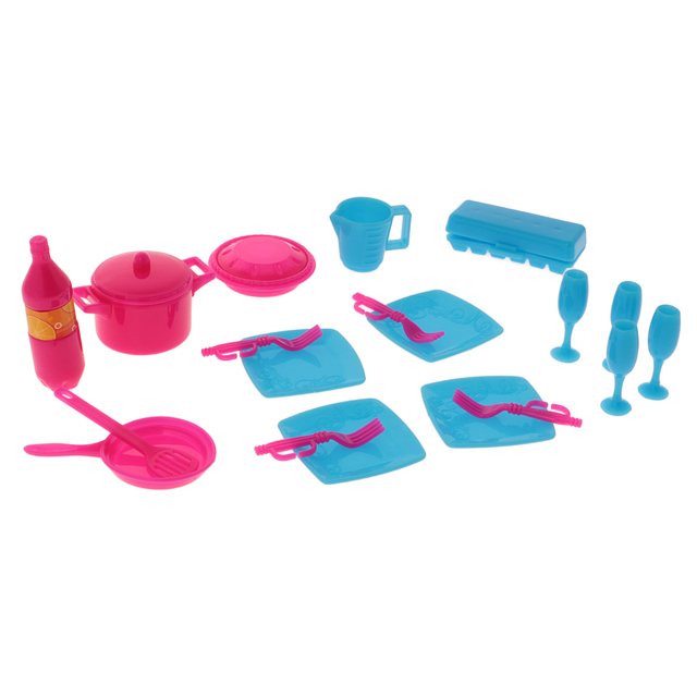 New 18pcs Dollhuse Miniature Kitchen Tableware Accessories Set For