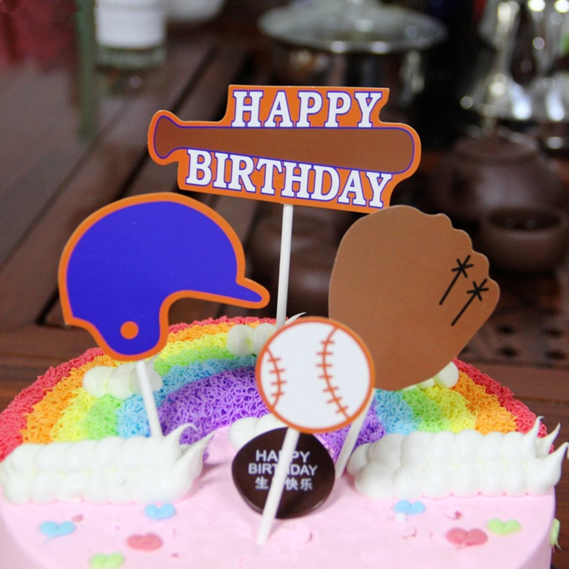 4pcs Baseball Cake Toppers Basketball Football Muffin Cake Cupcake Picks Toppers Kids Birthday Party Decoration Supplies Bands Without Stones