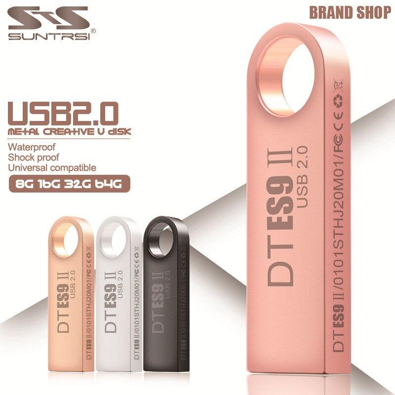 Suntrsi Pendrive 64GB USB Flash Drive 32GB 16GB USB Stick Metal Pen Drive 4GB Real Capacity USB 2.0 Waterproof Customized Logo