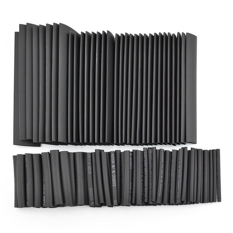 127pcs/lot Heat Shrink Tubing 7.28m 2:1 Black Tube Car Cable Sleeving Assortment Wrap Wire Kit with Polyolefin Tub Free Shipping