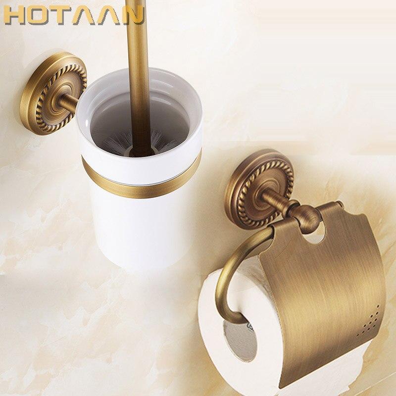 Free shipping solid brass Bathroom Accessories Set Paper Holder toilet brush holder bathroom sets antique brassYT