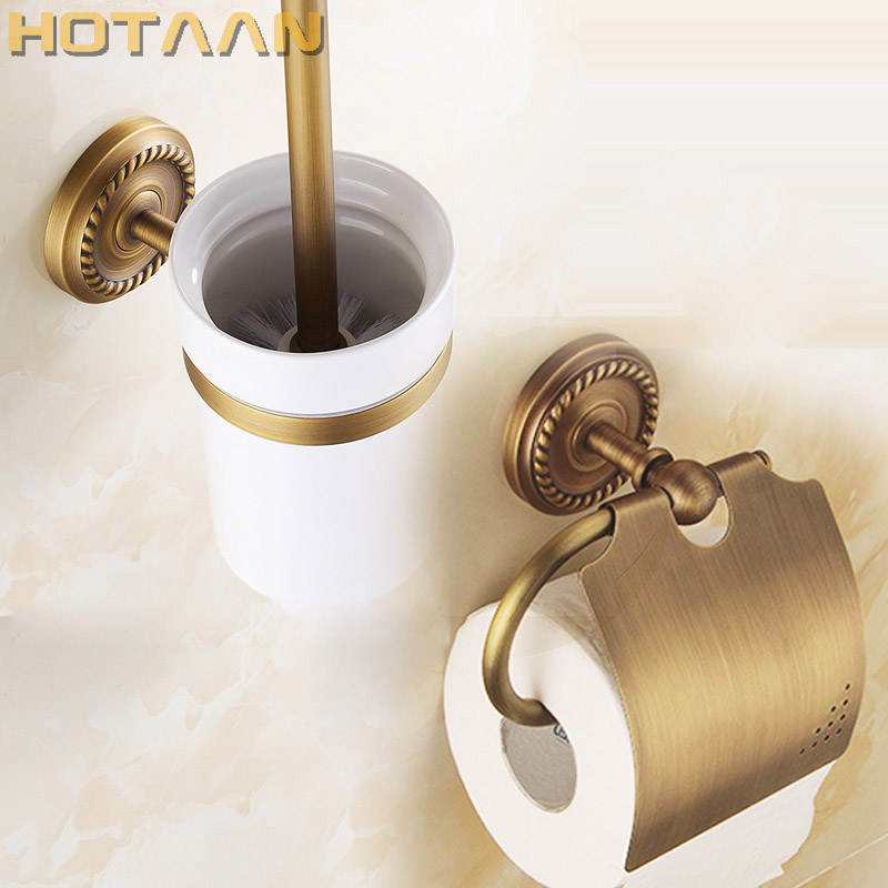 Free shipping,solid brass  Bathroom Accessories Set,Paper Holder toilet brush holder,bathroom sets,antique brassYT-12200-2 wall mounted bathroom accessories brass toilet brush holder antique black oil brushed bathroom toilet brush free shipping