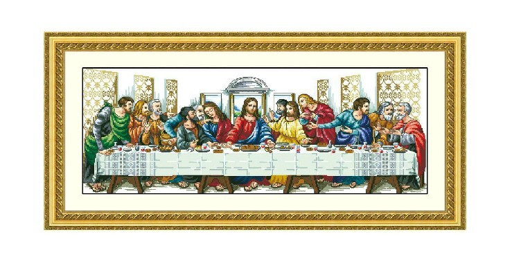 aliexpresscom buy the last supper finished completed cross stitch machine embroidery painting jesus without frame from reliable jesus head suppliers on