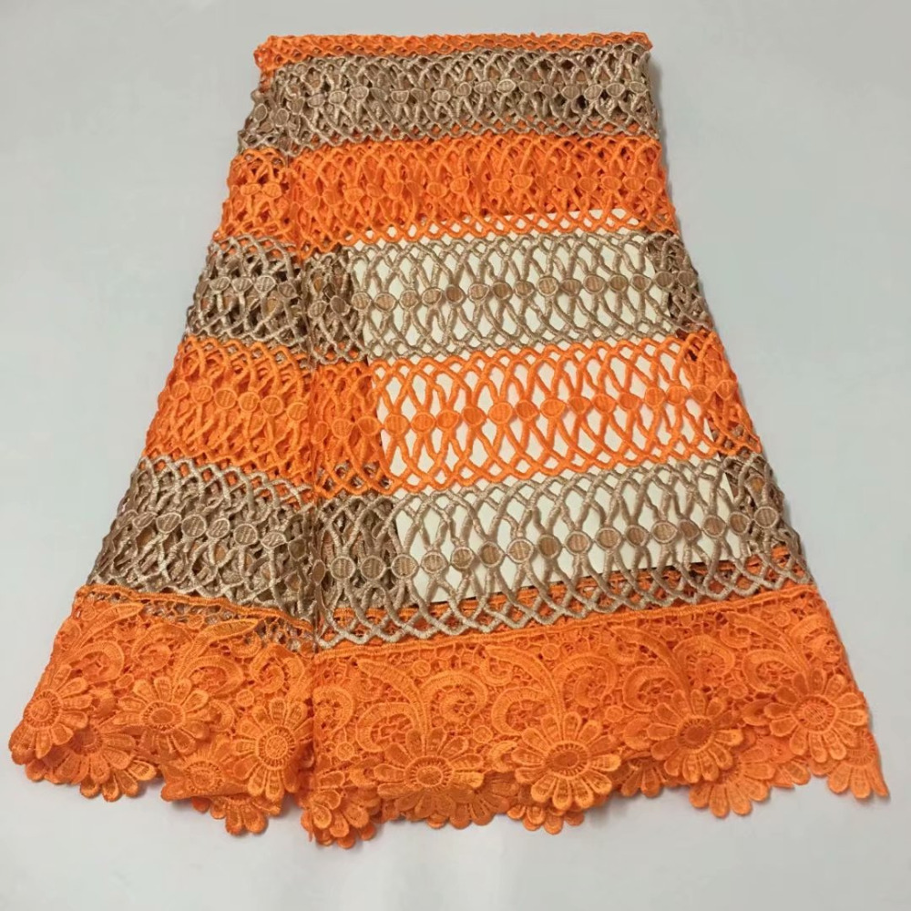 orange african lace fabric 2019 high quality nigerian guipure lace for women dress water soluble net