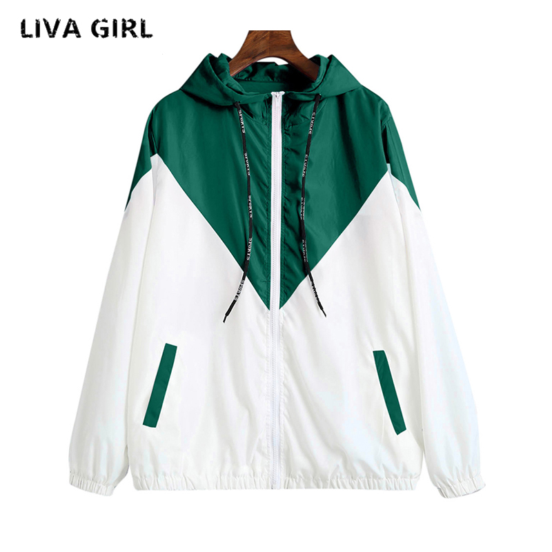 liva girl Jackets Women 2018 New Jacket Womens Hooded Women Jacket Fashion Thin Windbreaker Men Outwear Women Coat