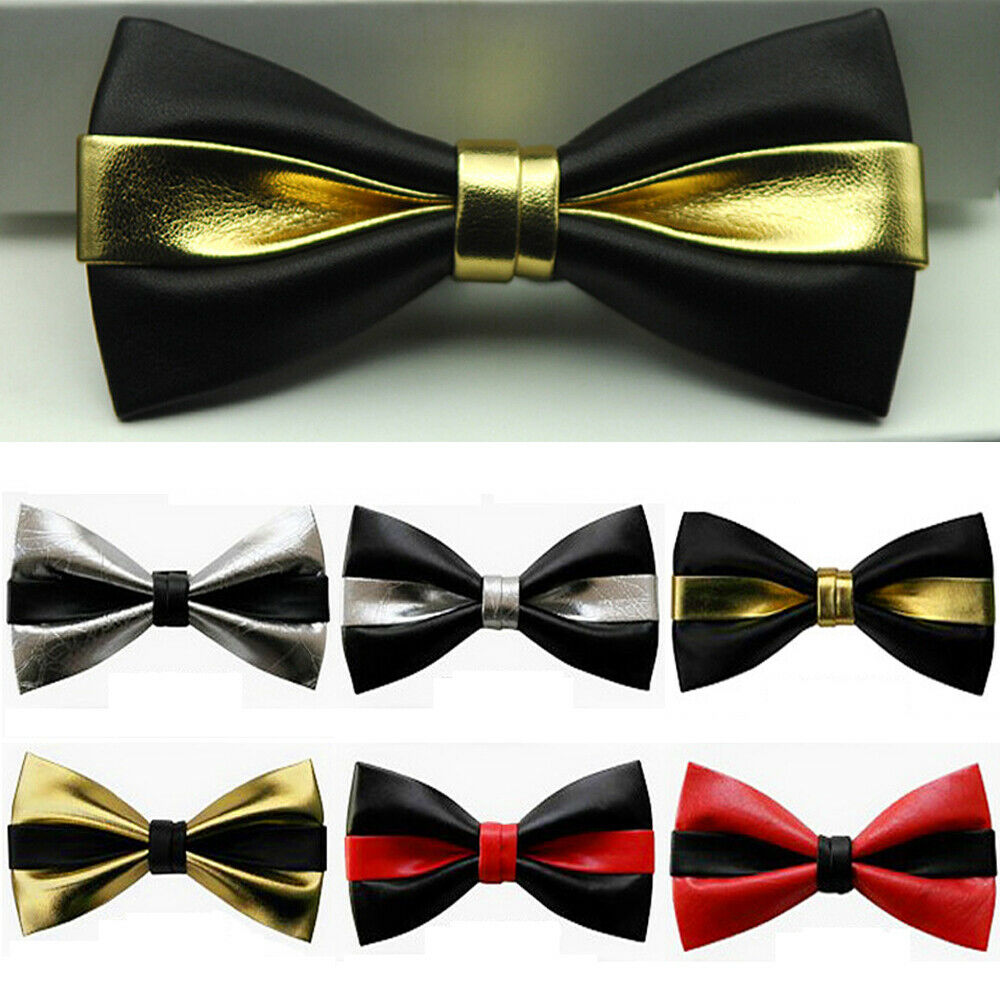 Men Faux Leather Bowtie High Class Wedding Bow Ties (Black/Silver/Gold/Red) RSTIE0022