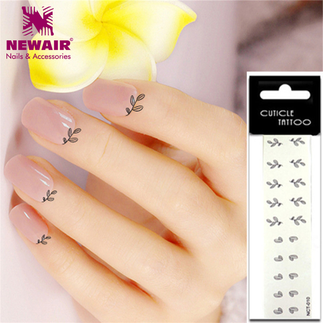 Leaf Design Cuticle Tattoos Waterproof Tattoo Sticker 20x Temporary Fake Nail Art On Finger