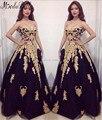 Elegante Negro Largo Vestidos de Noche Con Apliques de Encaje de Oro Cariño Una Línea de Vestidos de Fiesta Formal Prom Vestidos Vestidos Para Ocasiones