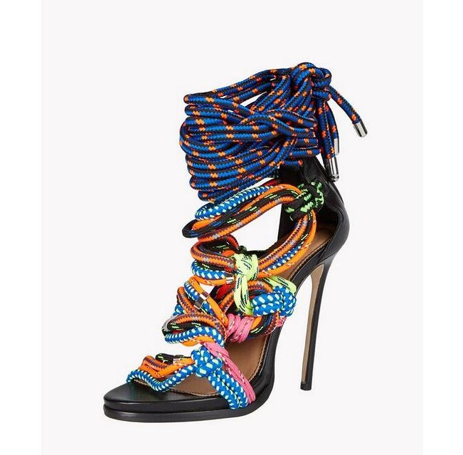 New Arrival Colorful String Lace-Up High Heels Sandals Woman 2017 Summer Sexy Peep Toe Cut-Outs Gladiator Sandals Woman Fashion summer new fashion ankle wrap glitter sandals sexy open toe cut outs high heels women ruffles decoration gladiator sandals
