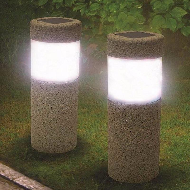 1pc Solar Power Stone Pillar W Hite Led Solar Lights Outdoor Garden Light Lawn Lamp Court