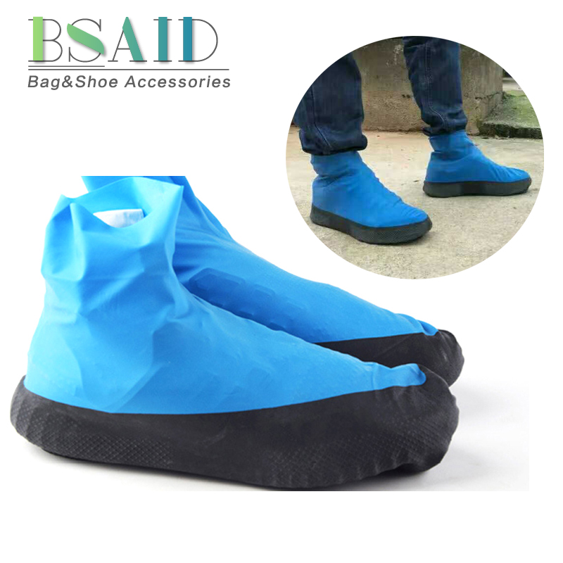 BSAID Latex Repeatable Overshoes Men Motorcycle Boots Shoes Covers Slip-on Non-slip Rain Boots Women Waterproof Rainy Shoe Cover