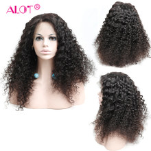 ALOT Brazilian Deep Wave 360 Lace Frontal Wig Pre Plucked With Baby Hair Human Hair Wig 180% Density Remy Hair(China)