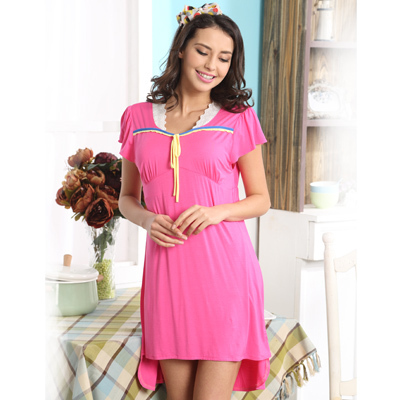 2015 summer new fashion casual modal short-sleeved nightgown, Skirt round neck dress women, free home delivery